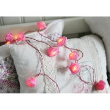 Гирлянда на батарейках Розочки, розовый