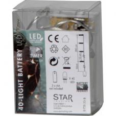 Гирлянда STRING DEW DROP, на батарейках, 40 LED ламп, теплый белый, серебрянный провод