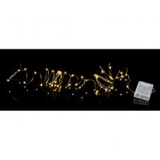 Гирлянда STRING DEW DROP, на батарейках, 40 LED ламп, теплый белый, золотой провод