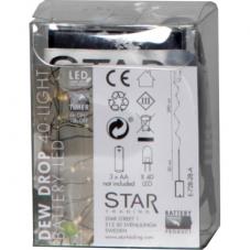 Гирлянда STRING DEW DROP, на батарейках, 40 LED ламп, теплый белый, черный провод