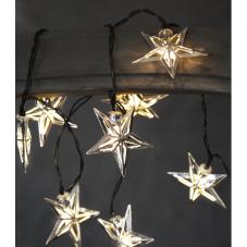 Гирлянда на батарейках STARLING Звездочки, 10 LED ламп, теплый белый, серебрянный