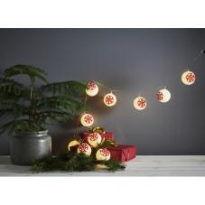 Гирлянда на батарейках ORNAMENT шарики со снежинками, 10 LED ламп, теплый белый, красный