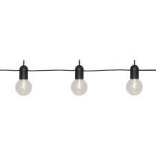 Гирлянда для улицы на батарейках FIESTA, длина 3,6 м, черный провод, теплый белый