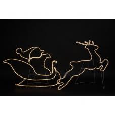 Силуэт сани Санты с оленем NEOLED, 180х75 см, теплый белый