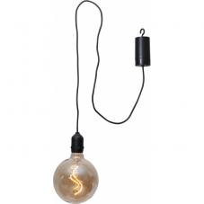Светильник-подвес BOWL, на батарейках, 18 см, теплый белый, янтарный, черный провод