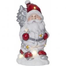 Светильник рождественский FRIENDS Санта на батарейках, 23 см, белый, серебристый, красный