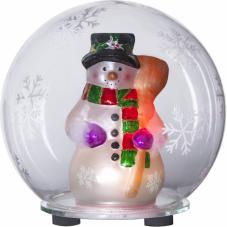 Светильник рождественский шар со Снеговиком BUBBLE на батарейках, 13.5 см, смена цветов