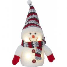 Светильник рождественский Снеговик JOYLIGHT на батарейках, 25 см, белый, красный
