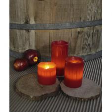 Комплект  свечей с эффектом оплавленной свечи,  3 шт., красный воск