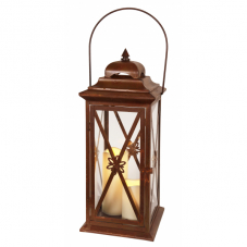 Светильник фонарь  с двумя свечками на батарейках LANTERN, 50 см, коричневый