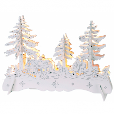 Светильник рождественский ЗИМНИЙ ПЕЙЗАЖ, 21 см, на батарейках, белый